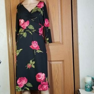 VTG floral pink rose print career Midi  dress 7/8